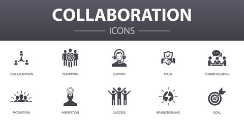 Сollaboration simple concept icons set. Contains such icons as teamwork, support, communication, motivation and more, can be used for web, logo, UI/UX
