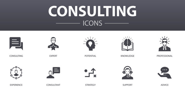 Consulting simple concept icons set. Contains such icons as Expert, knowledge, experience, consultant and more, can be used for web, logo, UI/UX