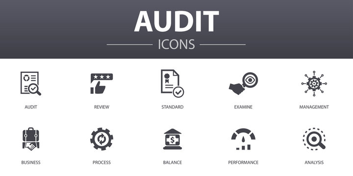 audit simple concept icons set. Contains such icons as review, standard, examine, process and more, can be used for web, logo, UI/UX