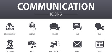 communication simple concept icons set. Contains such icons as internet, message, discussion, announcement and more, can be used for web, logo, UI/UX Fototapete