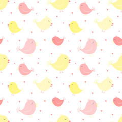 Seamless pattern of cute pink and yellow birds with hearts. Vector image for girl. Illustration for holiday, baby shower, birthday, textile, wrapper, greeting card, print, banners, flyers