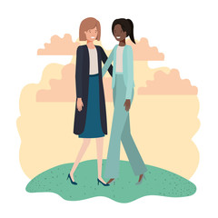 business women with landscape avatar character