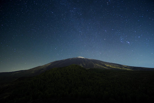Night Sky On Etna Mount, Sicily