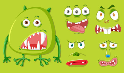 Green monster and different facial expression