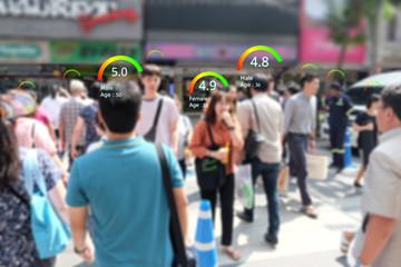 Social credit score concept, Smart AI analytics identify person technology, Intelligent rating, reputation.