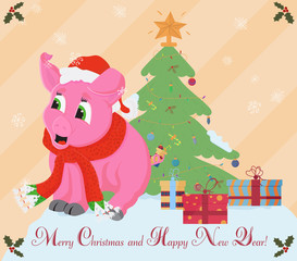 little pink pig in Santas hat and scarf around the neck symbol of the new 2019 Chinese calendar