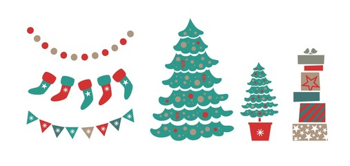 Christmas set with Christmas trees, garlands, gifts. Christmas, winter holidays. Vector illustration. For poster, postcard, pattern, wrapping paper, Wallpaper