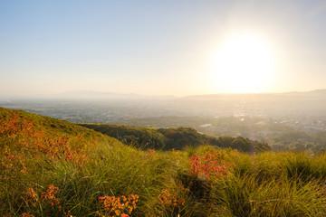 夕暮れの若草山と奈良の町