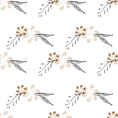 Botanical floral vector seamless pattern with hand drawn herbs, plants, flowers and leaves. Trendy design.