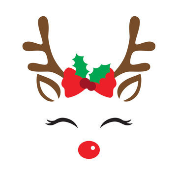 Vector illustration of a cute reindeer face with Christmas decoration.