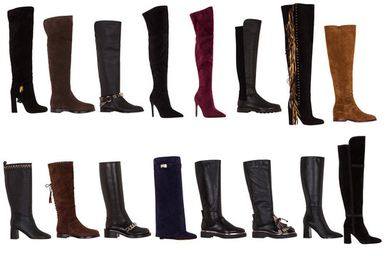 Set of women's autumn high boots collection on a white background. Italian premium fashion shoes