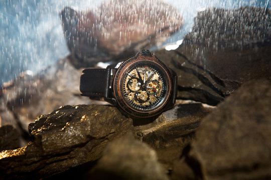 luxury men's watches on the stones