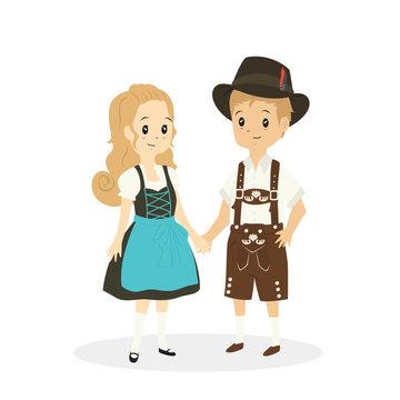 cute couple wearing German traditional dress. Germany traditional dress cartoon vector