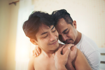 Gay Couple Love time on the bed