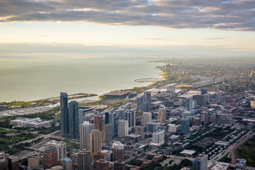 Aerial view of Chicago at sunrise