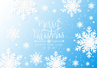 Merry Christmas and Happy New Years. Winter snowflakes background. Vector illustration
