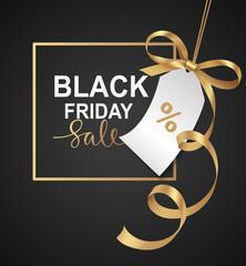 Black friday Sale banner design. Vector illustration.  Golden frame with price tag and gold bow on black background