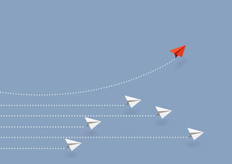 Business concept. Red paper airplane flying changing direction on blue sky of business teamwork and one different vision. Leader, New idea, boss, manager, winner concept, trend. Vector illustration