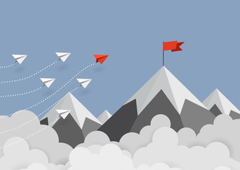 Business concept. Red paper leader airplane flying on blue sky of business teamwork and one different vision. Leader, New idea, boss, manager, winner concept, trend. Vector illustration