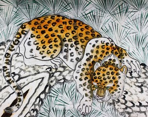 Detail from a painting of a prowling leopard on an ancient temple wall in Thailand