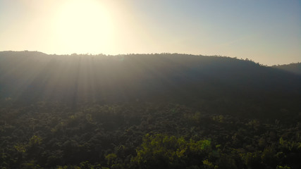 Aerial view of the sunrise at the valley on a natural background.