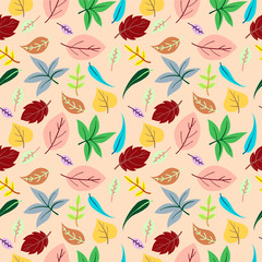 Leaf seamless pattern vector background