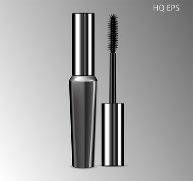 Luxury mascara ads silver package with eyelash applicator brush. Eyeliner Design Promotion Product. 3D realistic cosmetic Vector Illustration.