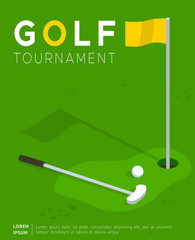 Golf tournament flat vector promo poster or invitation flyer template. Putter golf club and ball lying on field lawn near flag in hole. Sport competition, international cup advertising leaflet design
