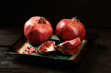 pomegranate whole and broken