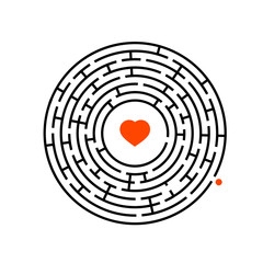 Abstract round maze. Game for kids. Puzzle for children. One entrance, one exit. Labyrinth conundrum. Flat vector illustration.