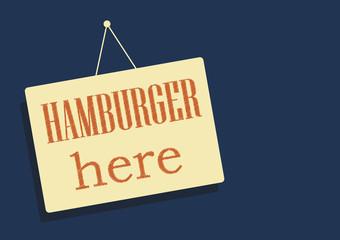 Hamburger here sticker record Vector illustration for design