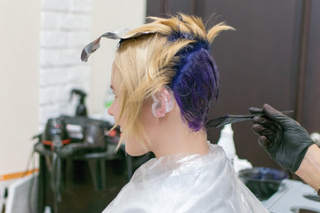 Woman dyed her hair blue at the hairdresser. Creative haircut and change the image of a woman. Hairdresser, stylist doing his job in the salon.