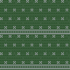 Knitted seamless pattern background. Sweater vector illustration. Green color. Knitwear design.
