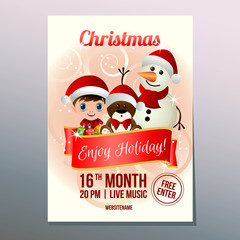 colorful christmas week festival poster with snowman