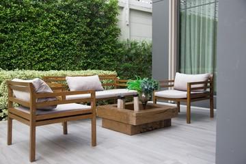 Wooden furniture set.