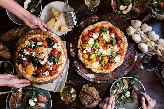 Serving a pizza food photography recipe idea