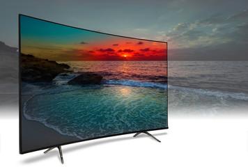 Photo sur Aluminium Bleu vert 4k monitor isolated on white