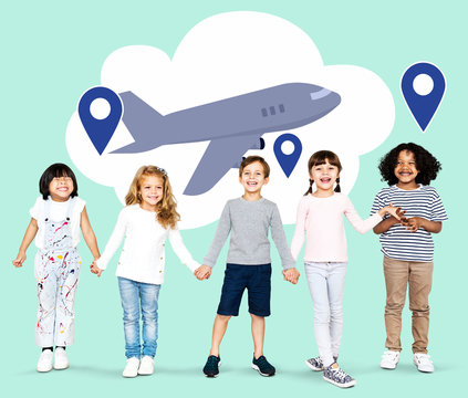 Diverse kids with dreams to explore the world