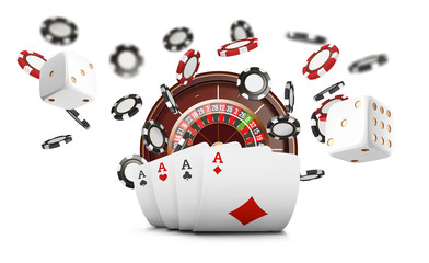 Playing cards and poker chips fly casino. Casino roulette concept on white background. Poker casino vector illustration. Red and black realistic chip in the air. Gambling poker mobile app icon.