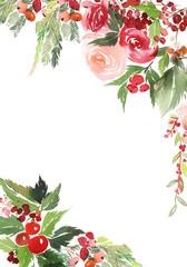 Christmas watercolor postcard.