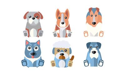 Dogs of different breeds set, cute cartoon animals pets vector Illustration on a white background