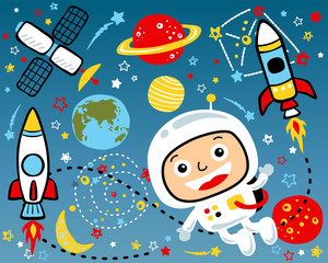 Vector cartoon illustration of outer space theme set. Eps 10