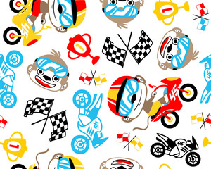 Seamless pattern vector with funny motor racer cartoon illustration. Eps 10