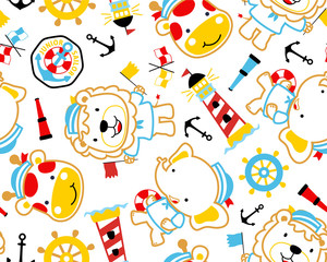 seamless pattern vector of sailing theme set cartoon illustration. Eps 10