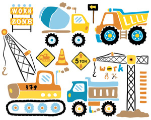 Vector set of construction vehicles cartoon illustration.