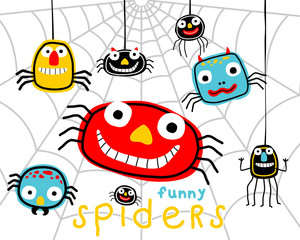 Funny colorful spiders cartoon