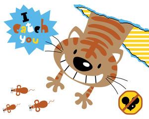Vector illustration with cat cartoon, the rats hunter.