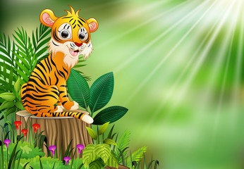 Cartoon happy tiger sitting on tree stump with green plants