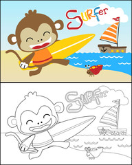 coloring book with little monkey in the beach