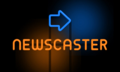 Newscaster - orange glowing text with an arrow on dark background